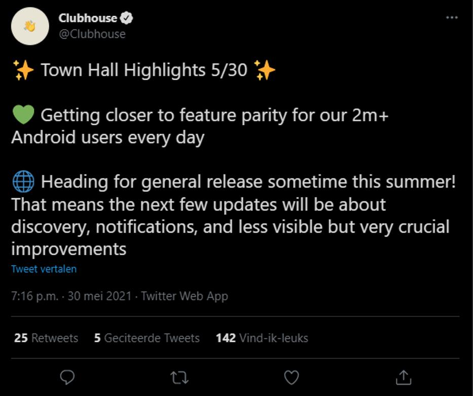 Clubhouse gebruikers in een week verdubbeld
